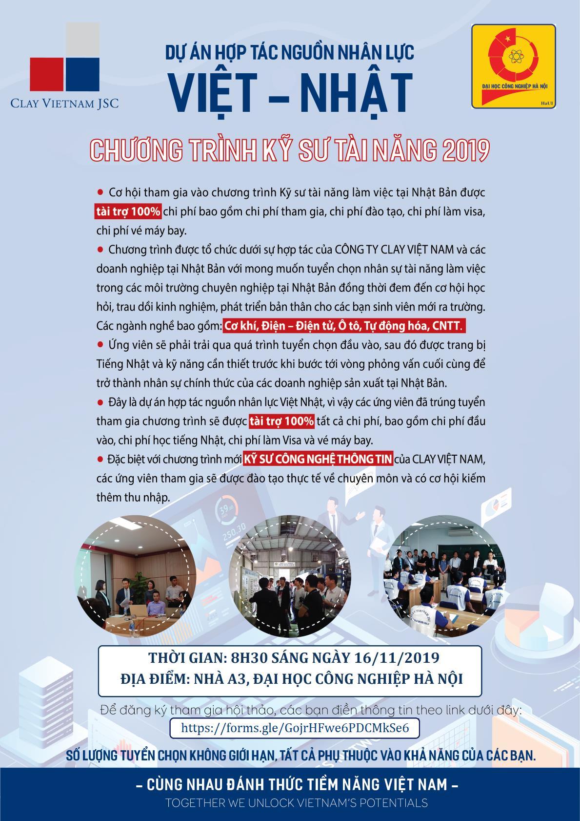 Hội thảo giới thiệu chương trình tuyển sinh đào tạo kỹ sư tài năng làm việc tại Nhật Bản của Công ty Clay Việt Nam