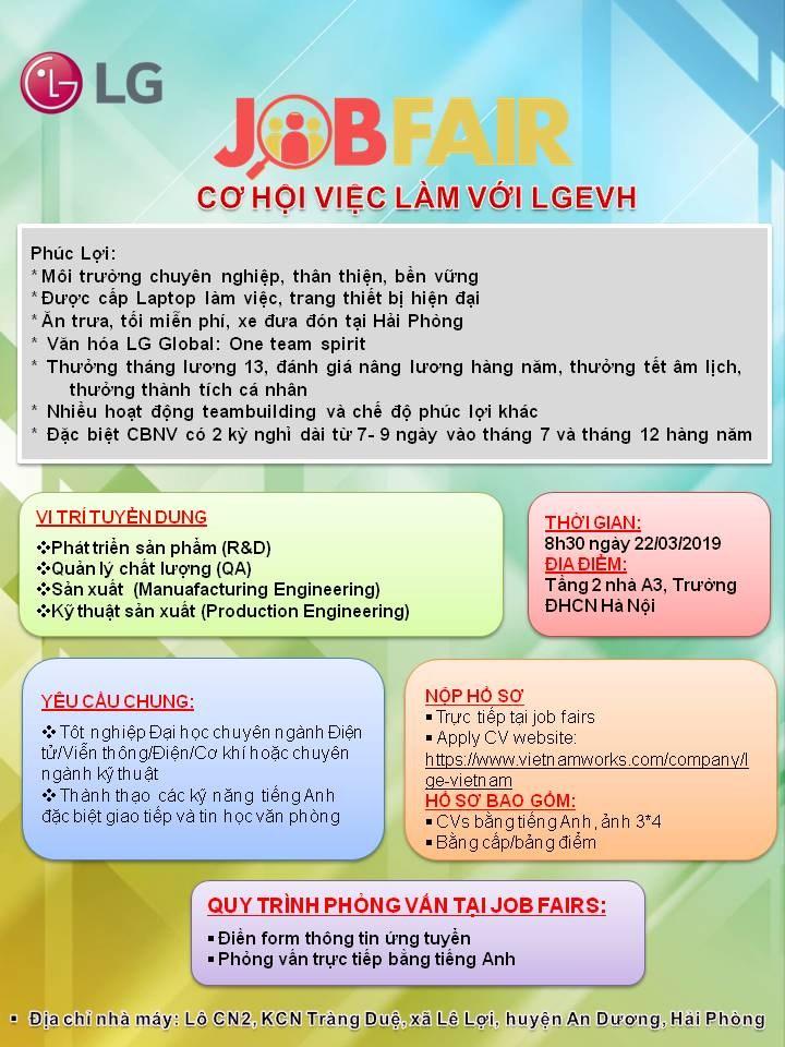 Hội thảo việc làm của Công ty TNHH LG Electronics Việt Nam Hải Phòng (LGEVH)
