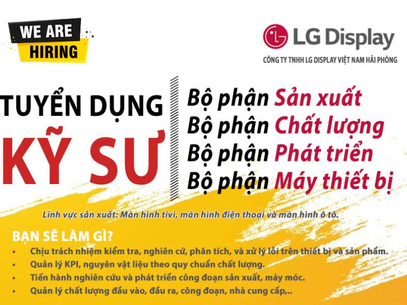 Kế hoạch hội thảo cơ hội việc làm và phỏng vấn trực tiếp của Cty LG Display Việt Nam