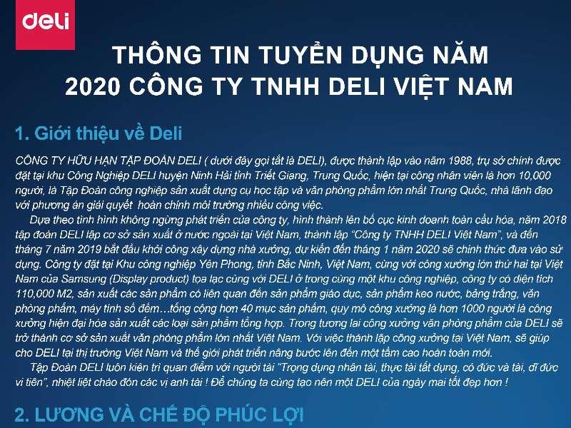 Kế hoạch tổ chức Hội thảo cơ hội việc làm và tuyển dụng trực tiếp của Công ty TNHH Deli Việt Nam