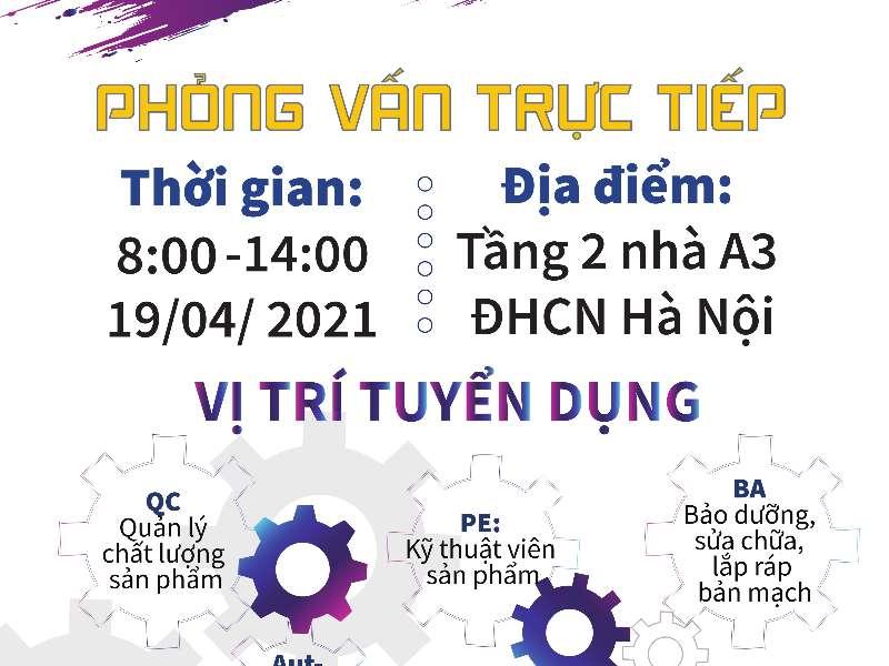 Hội thảo cơ hội việc làm và tuyển dụng trực tiếp của Công ty TNHH Fushan Technology Việt Nam (Fushan) - 19/04/2021